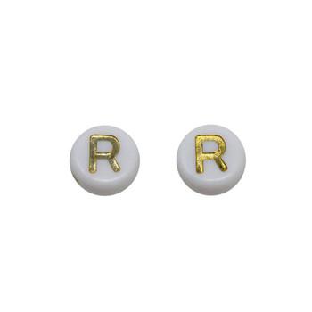 Acrylic White and Gold Alphabet Bead - R
