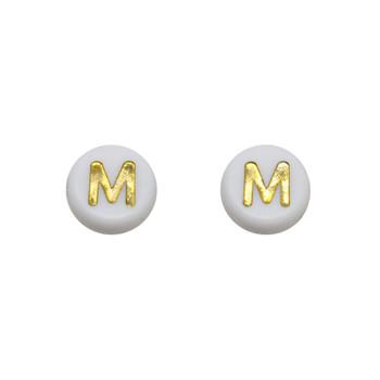 Acrylic White and Gold Alphabet Beads - M