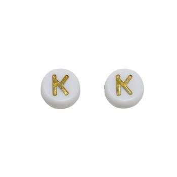 Acrylic White and Gold Alphabet Bead - K
