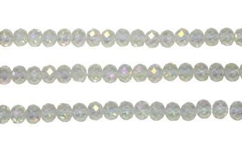 Glass Crystal Polished 6x8mm Faceted Rondel - Transparent Light Jonquil AB