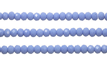Glass Crystal Polished 6x8mm Faceted Rondel - Opaque Cornflower Blue