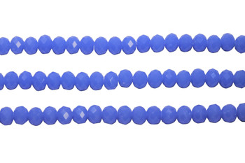 Glass Crystal Polished 5.5x7.5mm Faceted Rondel - Opaque Cyan Blue