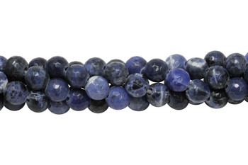 Sodalite Polished 10mm Faceted Round - 2mm Large Hole