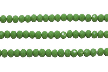 Glass Crystal Polished 6x8mm Faceted Rondel - Opaque Apple Green
