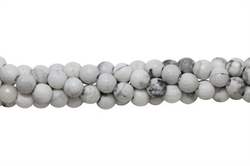 Howlite Polished White 8mm Faceted Round - 2mm Large Hole