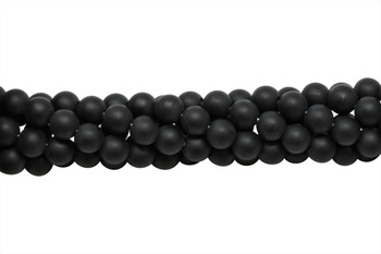 Black Onyx Matte 8mm Round - 2mm Large Hole
