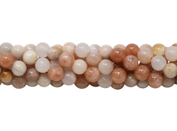 Multi Peach Moonstone Polished 5.5-6mm Round - Varied Sizes