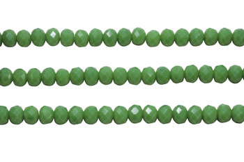 Glass Crystal Polished 6x7mm Faceted Rondel - Opaque Pea Green