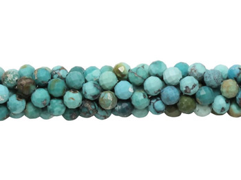 American Turquoise Polished 4mm Faceted Round