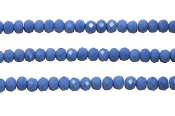 Glass Crystal Polished 6x7.5mm Faceted Rondel - Opaque Denim Blue