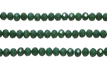 Glass Crystal Polished 6x7.5mm Faceted Rondel - Opaque Forrest Green