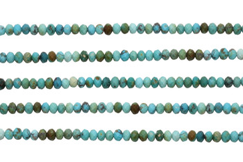 Chinese Turquoise Polished 4x3mm Faceted Rondel