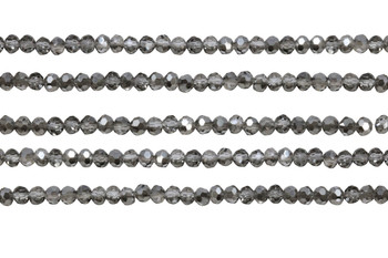Glass Crystal Polished 3.5x4mm Faceted Rondel - Transparent Grey Half Metallic Plated