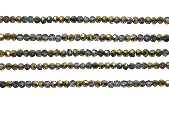 Glass Crystal Polished 3.5x4mm Faceted Rondel - Transparent Half Gold Plated