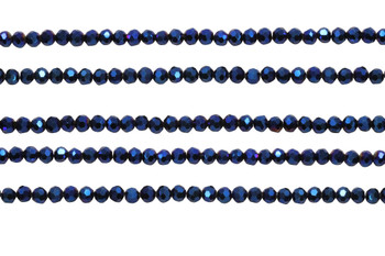 Glass Crystal Polished 3.5x4mm Faceted Rondel - Metallic Blue
