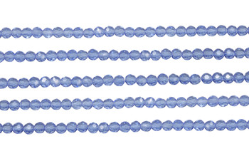 Glass Crystal Polished 3.5x4mm Faceted Rondel - Light Sapphire Blue