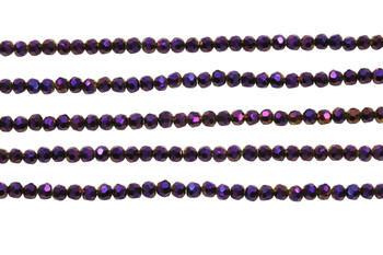 Glass Crystal Polished 3.5x4mm Faceted Rondel - Metallic Purple