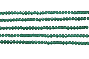 Glass Crystal Polished 3.5x4mm Faceted Rondel - Malachite Green