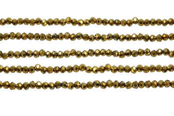 Glass Crystal Polished 3.5x4mm Faceted Rondel - Gold Plated