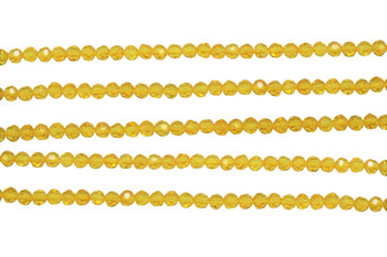 Glass Crystal Polished 4mm Faceted Rondel - Golden Yellow