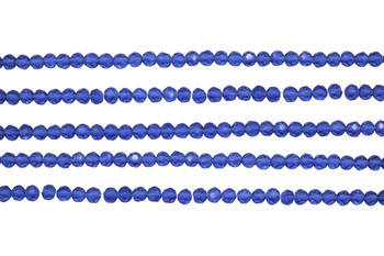 Glass Crystal Polished 3.5x4mm Faceted Rondel - Sapphire Medium Blue