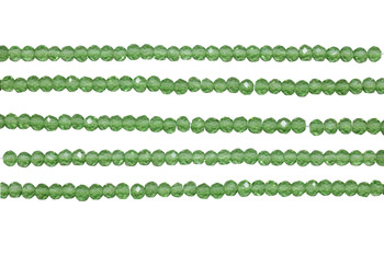 Glass Crystal Polished 3x4mm Faceted Rondel - Light Green