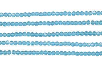 Glass Crystal Polished 3.5x4mm Faceted Rondel - Transparent Aquamarine