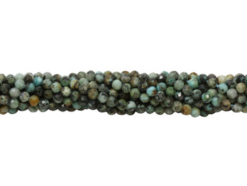 African Turquoise Polished 2.5mm Faceted Round