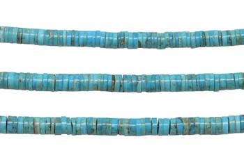 Kingman Turquoise Polished 6-6.5mm Heishi