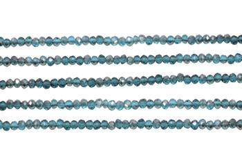 Glass Crystal Polished 3x4mm Faceted Rondel - Transparent Dark Teal Satin