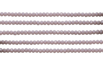 Glass Crystal Polished 3x4mm Faceted Rondel - Opaque Light Dusty Rose