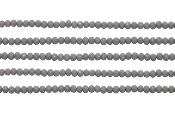 Glass Crystal Polished 3x4mm Faceted Rondel - Opaque Grey
