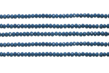 Glass Crystal Polished 3x4mm Faceted Rondel - Opaque Peacock Blue
