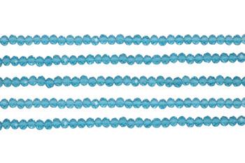 Glass Crystal Polished 3x4mm Faceted Rondel - Transparent Aquamarine