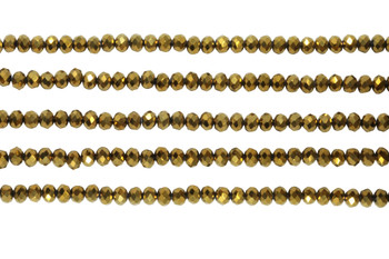 Glass Crystal Polished 3x4mm Faceted Rondel - Gold Plated