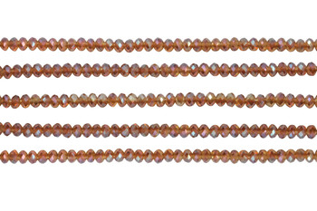 Glass Crystal Polished 3x4mm Faceted Rondel - Transparent Amber AB