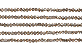 Glass Crystal Polished 3x4mm Faceted Rondel - Copper Half Plated Metallic