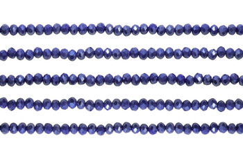 Glass Crystal Polished 3x4mm Faceted Rondel - Opaque Dark Royal Satin