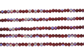 Glass Crystal Matte 3x4mm Faceted Rondel - Light Berry AB