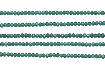 Glass Crystal Matte 3x4mm Faceted Rondel - Emerald / Silver