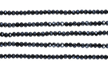 Glass Crystal Polished 3x4mm Faceted Rondel - Black / Grey