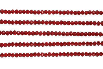 Glass Crystal Polished 3x4mm Faceted Rondel - Deep Red