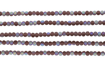 Glass Crystal Matte 3x4mm Faceted Rondel - Dusty Pink AB
