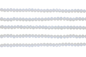 Glass Crystal Polished 3x4mm Faceted Rondel - White Opalite
