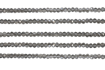 Glass Crystal Polished 3x4mm Faceted Rondel - Transparent Grey
