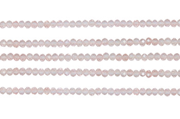 Glass Crystal Polished 3x4mm Faceted Rondel - Transparent Pale Pink