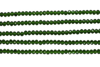 Glass Crystal Polished 3x4mm Faceted Rondel - Transparent Deep Green