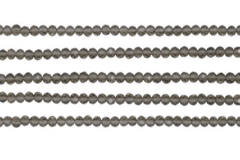 Glass Crystal Polished 3.5x4mm Faceted Rondel - Transparent Smoky Grey