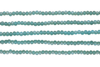 Glass Crystal Matte 3x4mm Faceted Rondel - Aqua Sea Glass