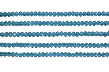 Glass Crystal Polished 3x4mm Faceted Rondel - Transparent Indocolite